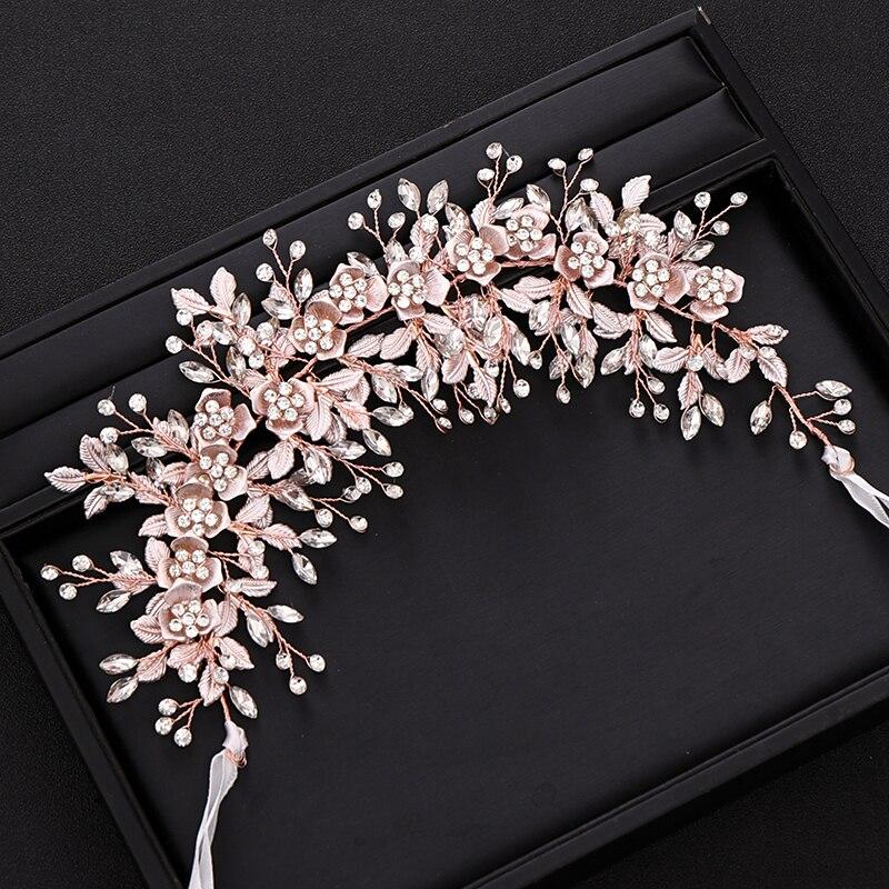 Image 4 - Trendy Silver Flower Bridal Headband Prom Tiara Wedding Hair Accessories Handmade Hair Vine Crystal Headband Bride Hair JewelryHair Jewelry   -