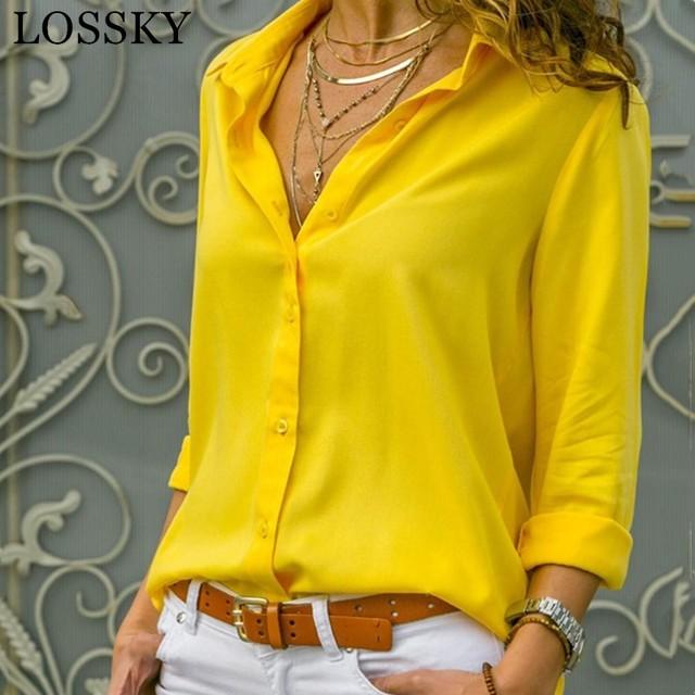 Casual Loose Women Blouse Shirts 2019 Autumn Basic V Neck Plus Size Blouse Long Sleeve Buttons White Shirt Women Tops Clothing 5