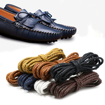 1Pair Waxed Cotton Round Shoe Laces Leather Waterproof Shoelaces Men Martin Boots shoelace Shoes Strings Length 70/90/100cm image