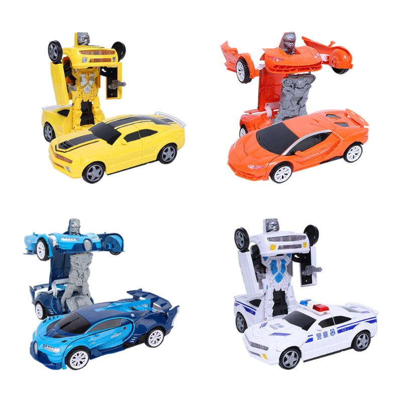 Car Transformation Robots Rich In Color Benefiting Eyes Development Vehicle Deformation Model Toys Gifts With Light Music