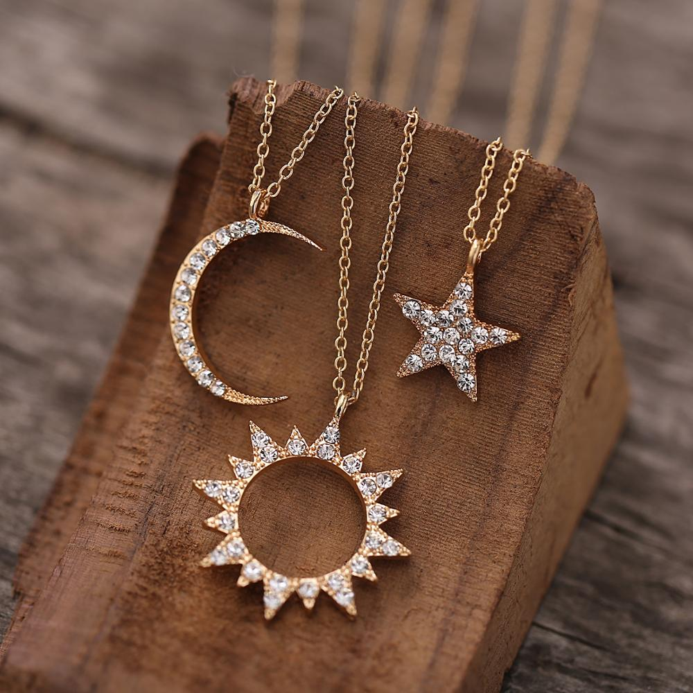 Enthusiasm 2020 New Fashion Ladies Necklace Creative Hollow Sun Star Moon Pendant Necklace Ladies gift Accessories Jewelry Gifts