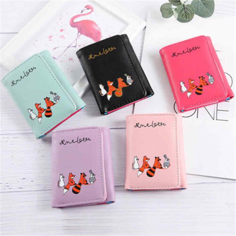 Женский милый мультяшный кошелек для девочек, кошелек с принтом лисы, кошелек для монет, держатель для карт, длинная сумочка клатч кошелек