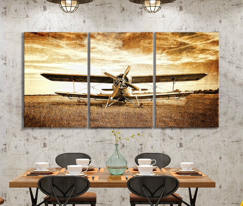 Retro Style Old Biplane Picture Wall Paintings Vintage Airplane Poster HD Wall Picture for Living Room Decor image