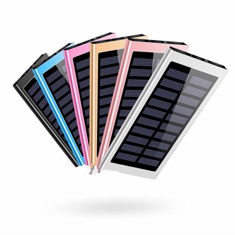 Ultra-mince solaire 30000mah Powerbank batterie externe 2 USB LED Powerbank Portable téléphone Portable chargeur solaire pour xiaomi iphone