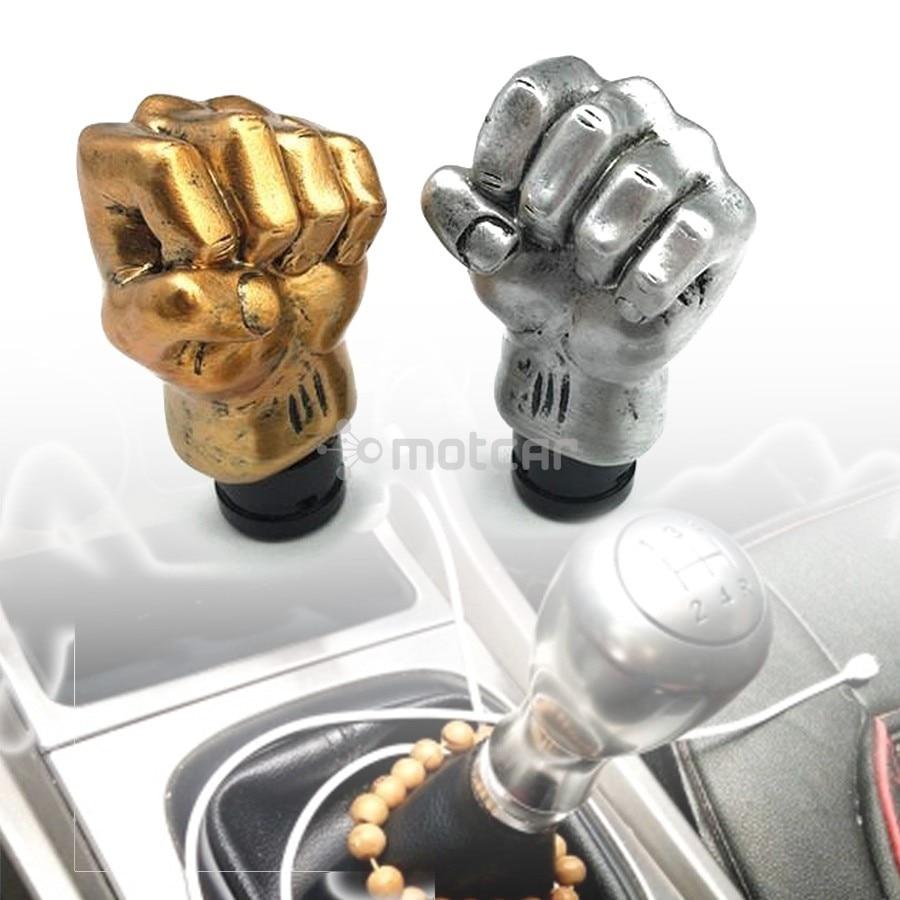 1set Fist Shape Knob Auto Car Manual Transmission Gear Shift Head Shifter Lever Stick Resin Mud Silver/Gold Free Shipping cars manual transmission gear shift manual transmission - title=