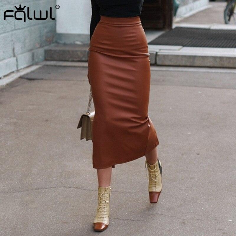 FQLWL Faux Pu Leather Long Skirts Women Khaki Wrap High Waist Skirt Female Winter Split Ladies Pencil Sexy Bodycon Maxi Skirt