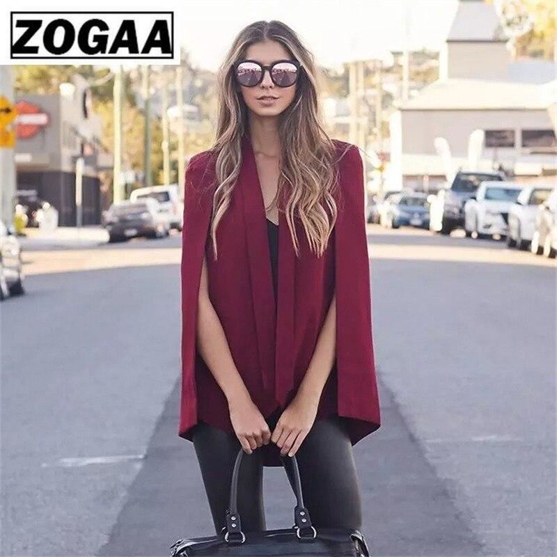 ZOGAA Women's Vintage Blazer Shawl Collar Split Sleeve Cloak Blazers Capes Women's Autumn Solid Suit Jackets Office Lady Blazers
