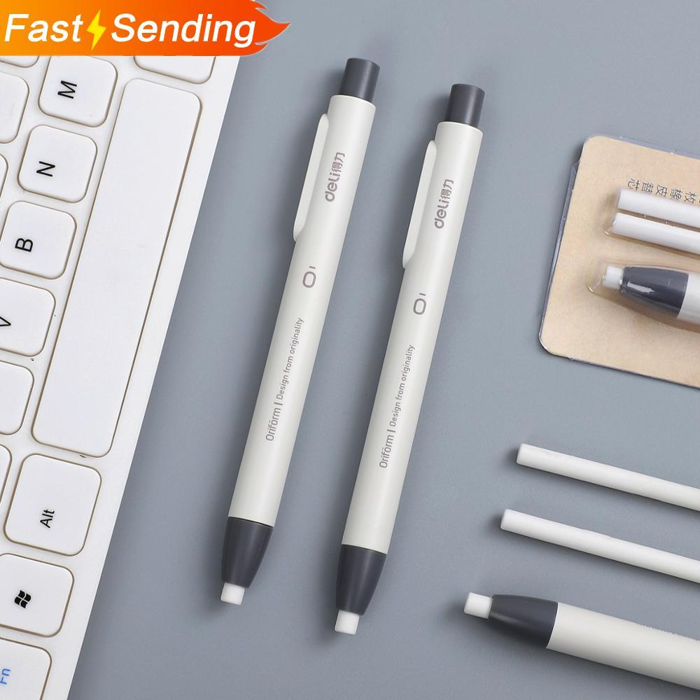 1set Creative Simplicity Easily Press Eraser Student With Stationery Retractable Pen Shape Eraser School Supplies Kawaii