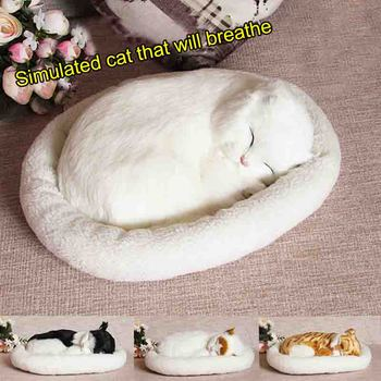 10 patterns Electronic Pets Simulation animal cat breathing lovely Real Hair birthday gift model