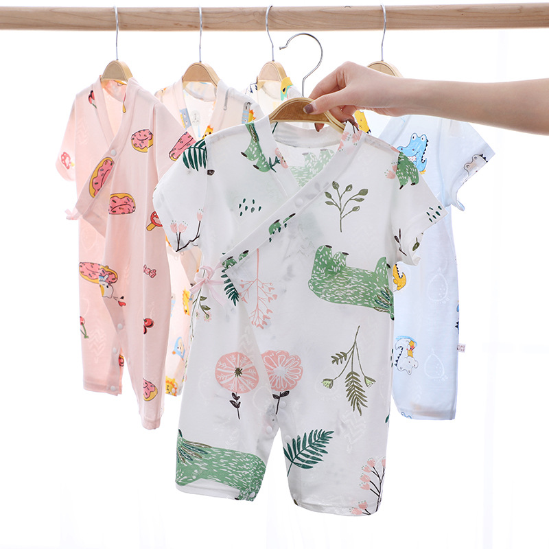 Two-piece cartoon spring and summer one-piece short-sleeved romper for men and women newborn newborn baby short-sleeved romper p