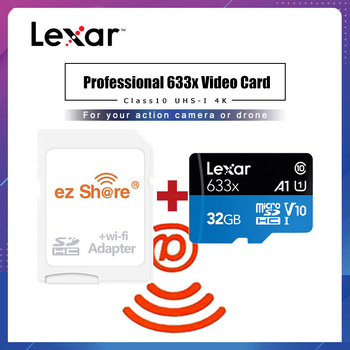 ezshare Wireless wifi adapter+Lexar Micro SD Card 128GB 32GB Class 10 633x 64GB wifi wireless TF Card 16gb  Flash Memory Card