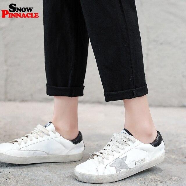 2019 New Women High Waist Elastic Harem Pants Casual OL Cotton Linen Lady Ankle -length Capris Trouser Pencil Pants Summer 5