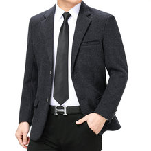 Men Business Casual Blazers Elegant Navy Blue Grey Notched Collar Jacket Suit Male Slim Fit Outfits Office Garment Spring Autumn
