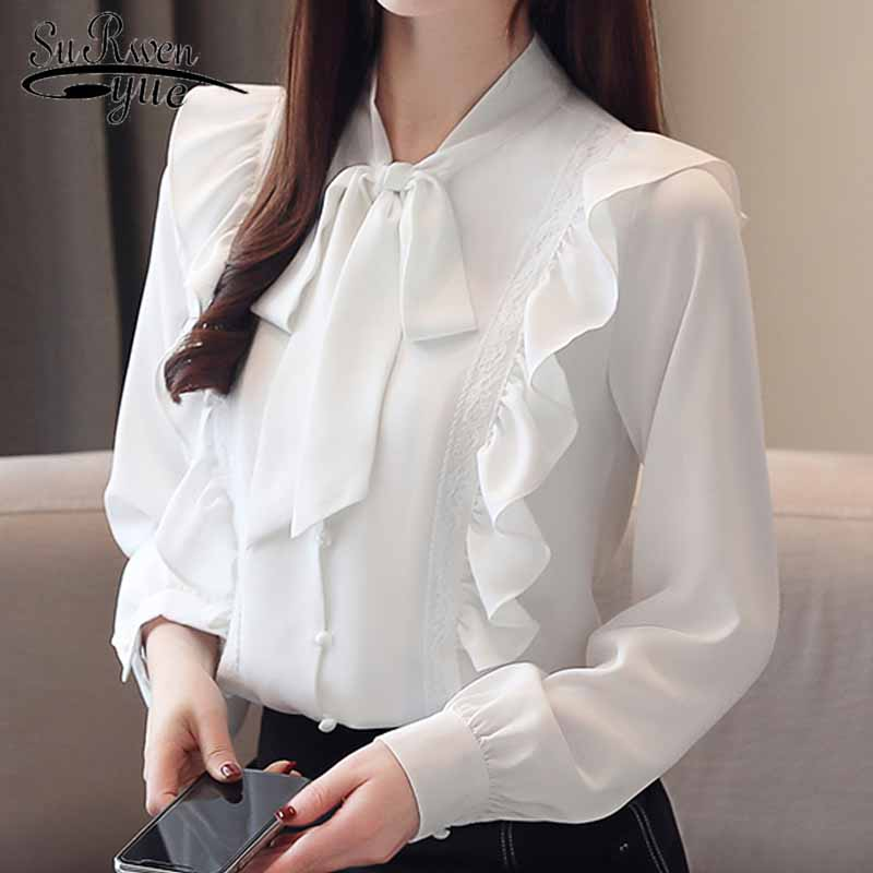 Fashion women blouses 2019 Autumn long sleeve Solid Chiffon Women Blouse Long Sleeve Women shirts ruffles white blouse 5305 50