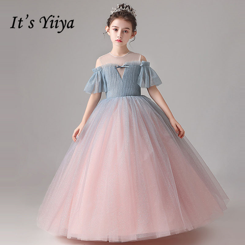 Flower     Girl     Dress   It's Yiiya B034 Elegant O-neck Princess Gowns Short Sleeve Floor Length Pleat   Flower     Girl     Dresses   For Wedding