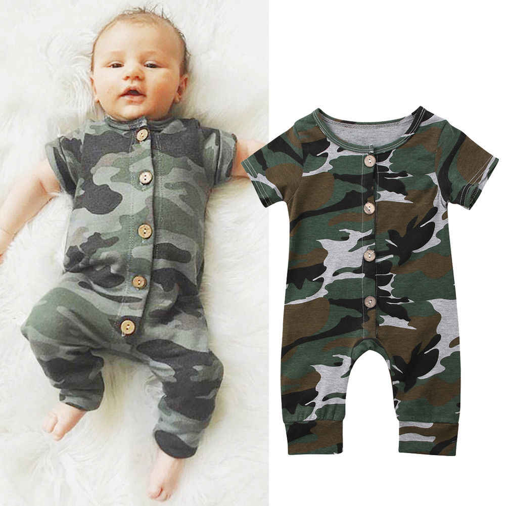 Infant Junge Kurzarm Camo Taste Overall Neugeborenen Romper Baumwolle Kleidung Baby Outfit Kleidung