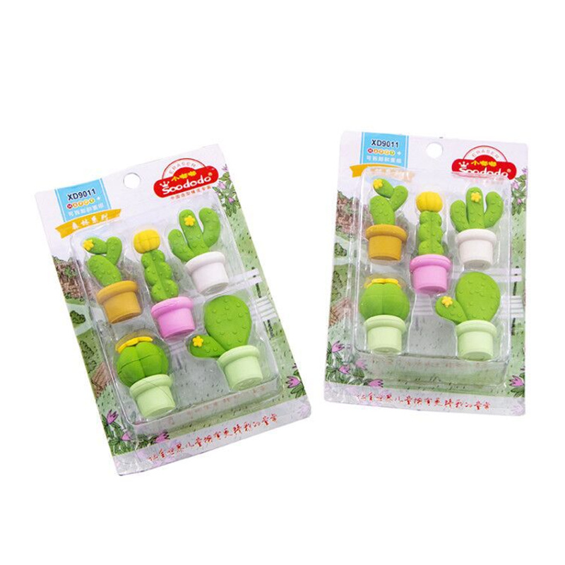 5pcs Cute Cactus Eraser Set Potting Plants Rubber Erasers For Pencil Child Kids Gift Stationery Office School Supplies A6371