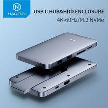 Hagibis USB-C Hub Met M.2 Harde Schijf Behuizing Voor Macbook Pro Type-C Ssd Case Met Usb 3.1 Pd 4K Hdmi-Compatibel Sata Sd/Tf