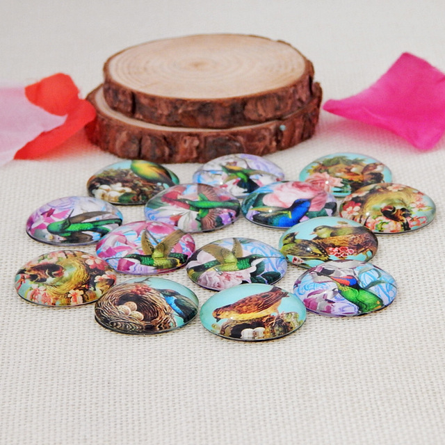 Фото 10 шт круглые стеклянные ожерелья кабошоны с птицами цена