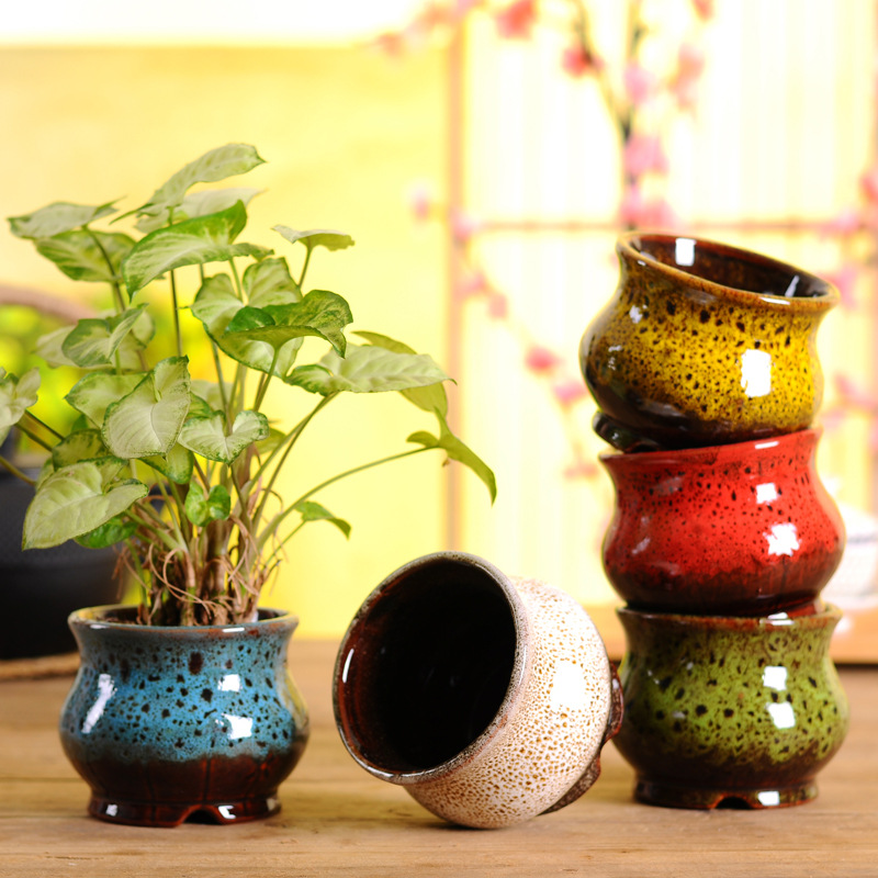 Печь мелочь керамика цветочный горшок глазурь классическая медь кольцо мясистый контейнер глазурь маленький свежий мясистый цветочный горшок украшение для цветов