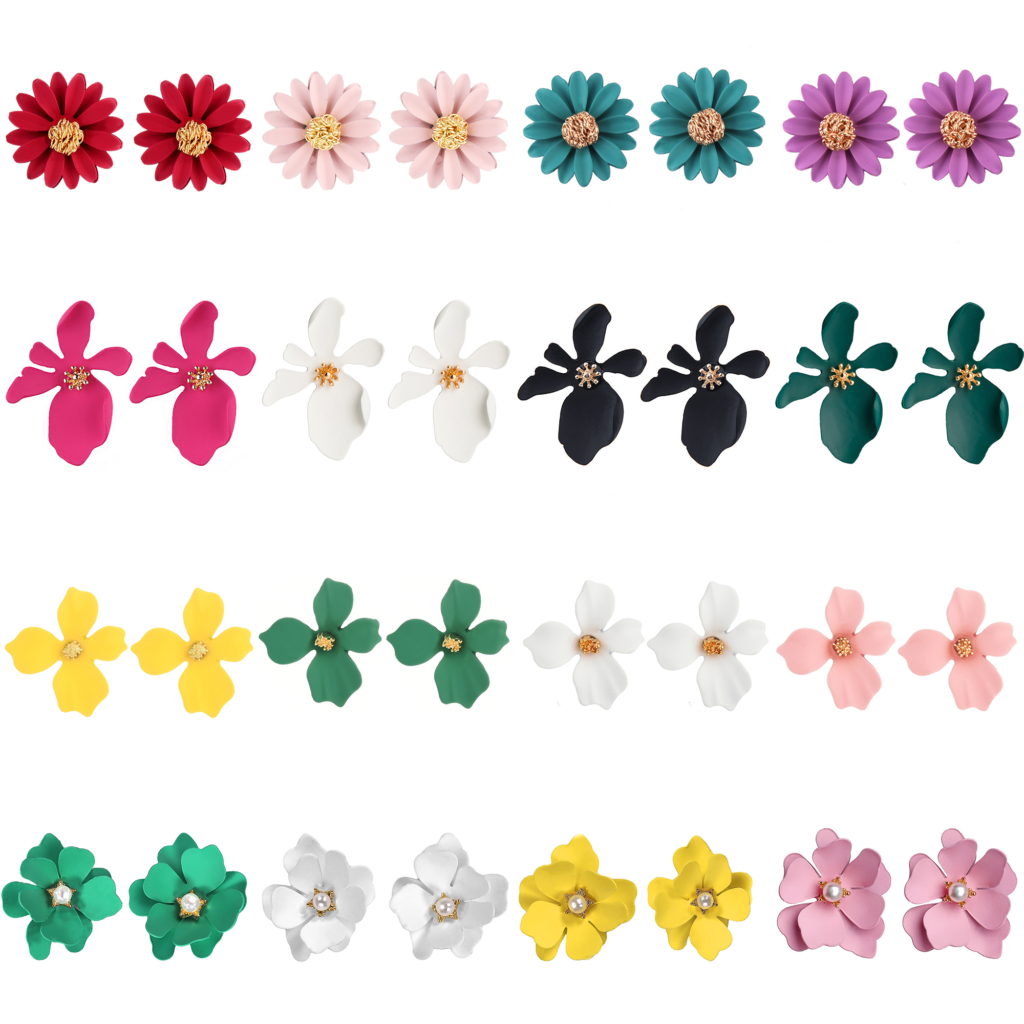 Earrings For Women Studs Girls Flowers Petal Colorful Elegance Trendy Party Jewelry Charm