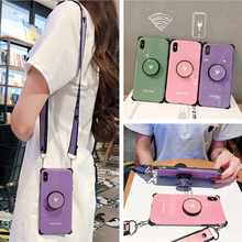 shockproof strap tpu case for iphone X XR XS MAX 7 8 6 6s plus cover fashion Anti-knock candy color holder soft silicone ph
