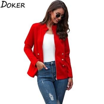 2020 Autumn New Elegant Red Jacket Women Stand Collar Long Sleeve Jackets Zipper Tops Famale Streetwear Basic Short Coat new fashion women female korean short type long sleeve slim motor zipper leather jackets coats
