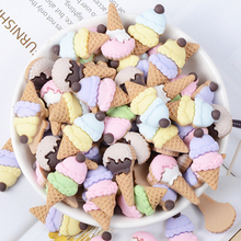 10 Pcs/lot Resin Simulation Ice Cream Slime Fluffy Charm Filler Childrens Creative Toys Kids Interactive Tools Clay Mould