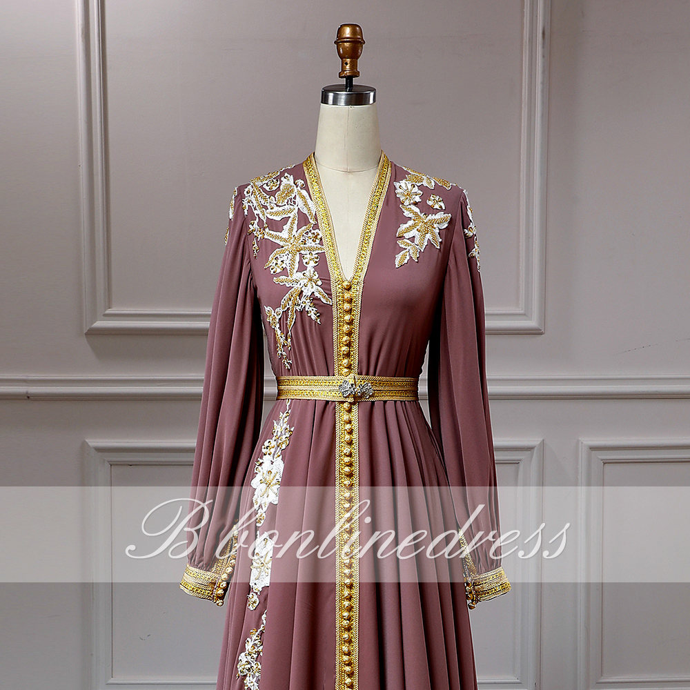 Bbonlinedress Moroccan Caftan Evening Dresses Embroidery Appliques Long Evening Dress Full Sleeve Arabic Muslim Party-Dress 4