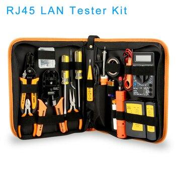 17 Pcs LAN Network Repair Tool Kit RJ45 RJ11 RJ12 Cable Connector Network Tester Repair Set Multimeter Wire Cripping Pliers 1