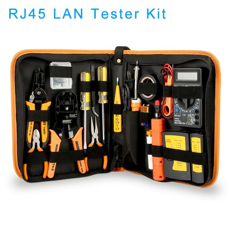 Набор инструментов для ремонта сети LAN, 17 шт., плоскогубцы для тестирования и ремонта кабеля RJ45 RJ11 RJ12