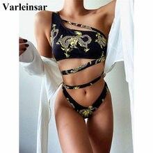 Female Swimsuit Bikini-Set Dragon Two-Pieces Printed Women V2554 Asymmetric