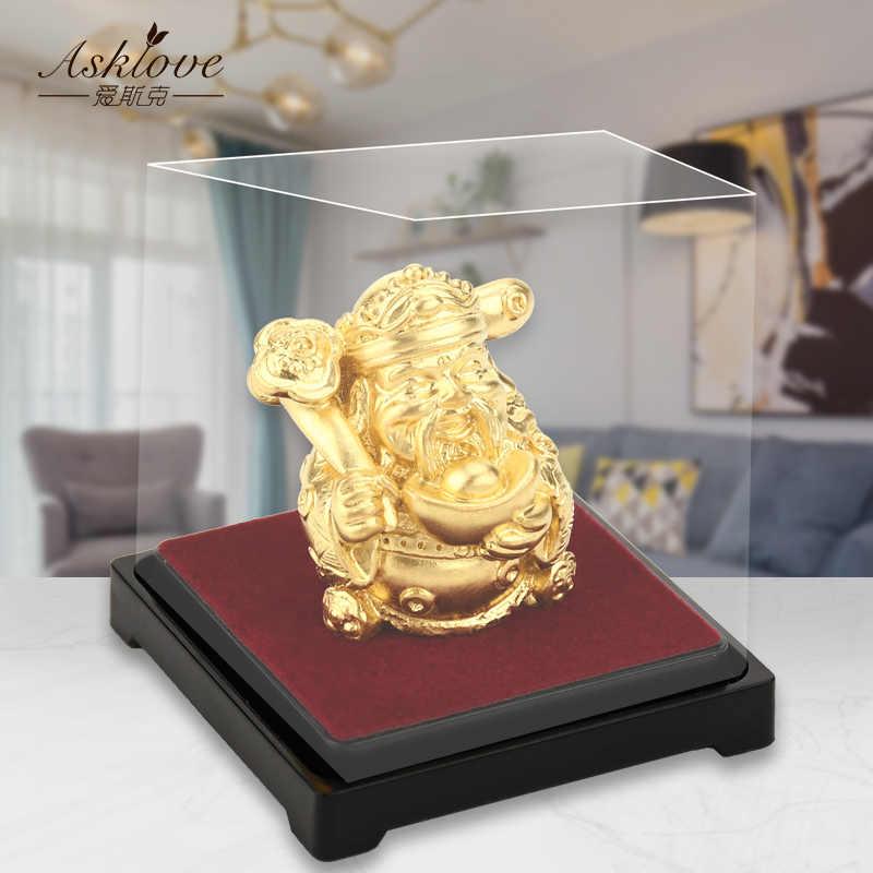 Декор «Бог богатства» фэн-шуй, 24 к Золотая фольга, статуя богатства, украшение для офиса, ремесла для сбора богатства, украшение для дома и офиса