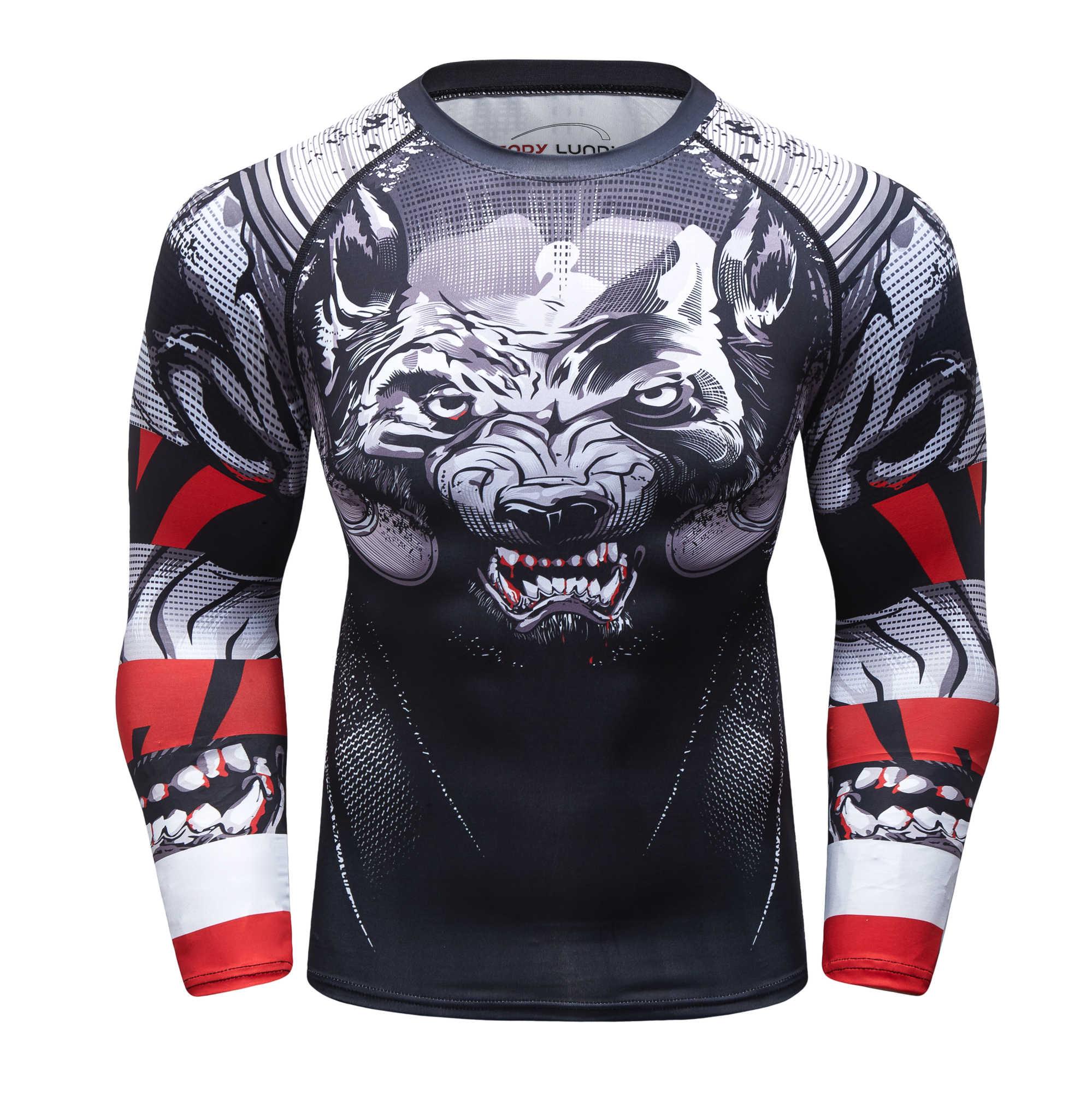 Sportswear impressão 3D apertado compressão da pele dos homens novos esportes T-shirt dos homens MMA Rashguard sportswear aptidão