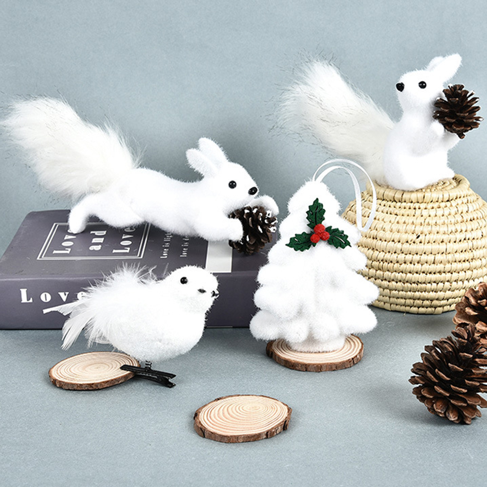 Merry Christmas Cute Foam Squirrel Bird Animal Hanging Decoration Ornaments Supplies For Festive Party Children Kids Gift