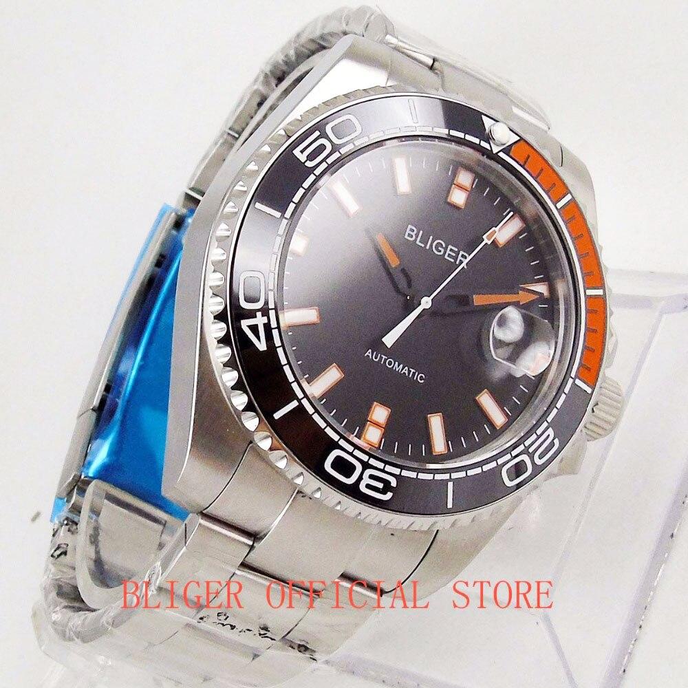 Military Style BLIGER Men's Watch 43mm Stainless Steel Bracelet Ceramic Bezel Sapphire Crystal Auto Date