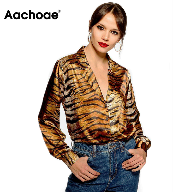 Stylish Leopard Print Blouse Long Sleeve Women Top Spring Summer Satin Top Casual Loose Turn Down Collar Lady Tunic Animal Shirt