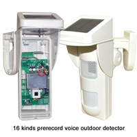 IP65 waterproof outdoor Solar PIR Motion detector Infrared Alarm detector with 16 Pre recorder Voice wireless remote 433mhz