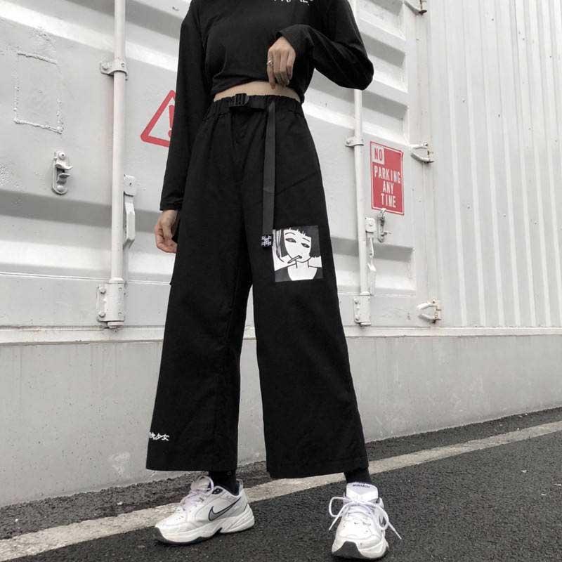 2020 Casual Summer Ulzzang Korea Women's Clothing Harajuku Loose Letter Print T-shirts+Anime Print Wide Leg Pants Two S-XXL
