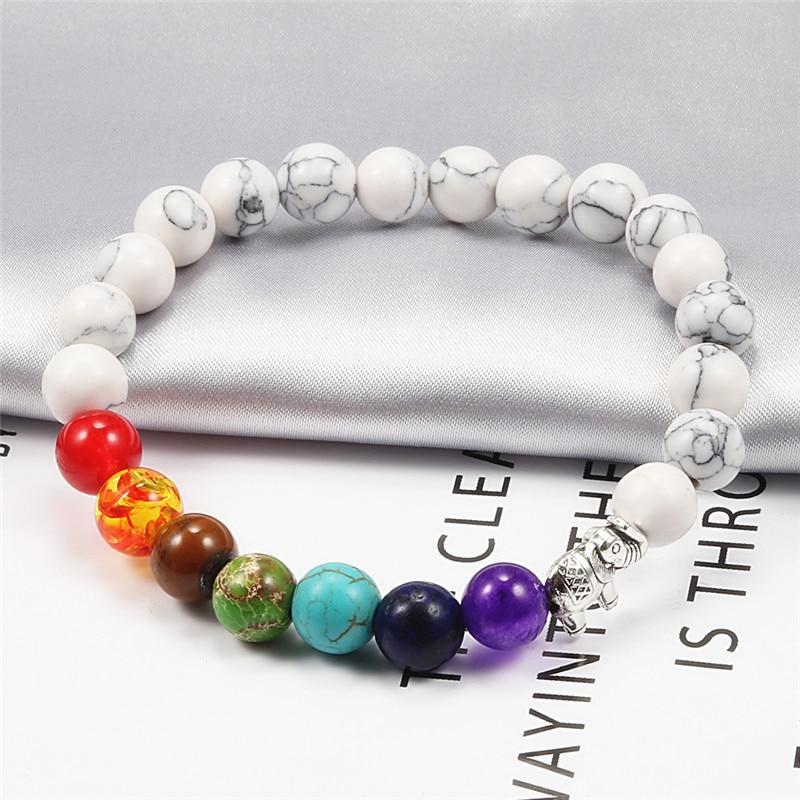 7 Chakra Natural Lava Stone Beaded Bracelet Men Matte Black Bracelets With Elephant Women Jewelry Tiger Eye Pulsera mujer hombre