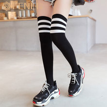 цены thigh high socks knee socks Sexy women's cotton socks over the knee legs thin cotton style high socks women knitted long socks