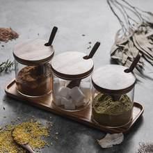Caja de madera para condimentos, utensilio de cocina para azúcar y sal, con cubierta de vidrio, para almacenamiento de especias