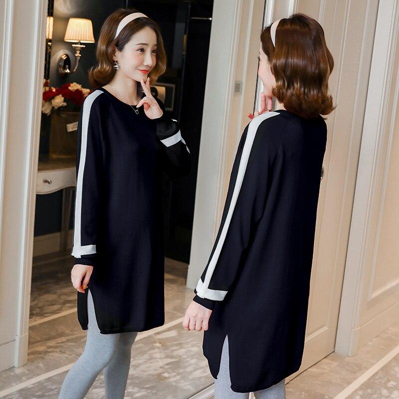 Для беременных женщин, осень, 2019 модные свитера для беременных женщин, осенние и зимние корейские базовые вязаные, средней длины для