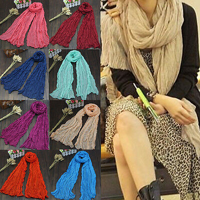 Voile Thin Shawl Scarf Winter Soft Warm Candy Color Ladies Women Linen Long