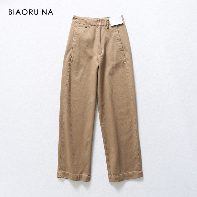 BIAORUINA 4 Colors Women's Casual High Waist   Wide     Leg     Pant   Female All-match Vintage Straight   Pant   Trouser New Arrival