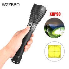 Torche puissante portable 300000 LM XHP90, Zoom lampe de poche LED, affichage de puissance, Rechargeable par USB, 18650 26650