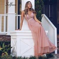 Sexy Frauen Kleid A-Line V-ausschnitt Sleeveless Sehen-Durch Perlen Tüll Damen Maxi Kleid Frauen Elegante Party Kleider Lange Jurken 2020