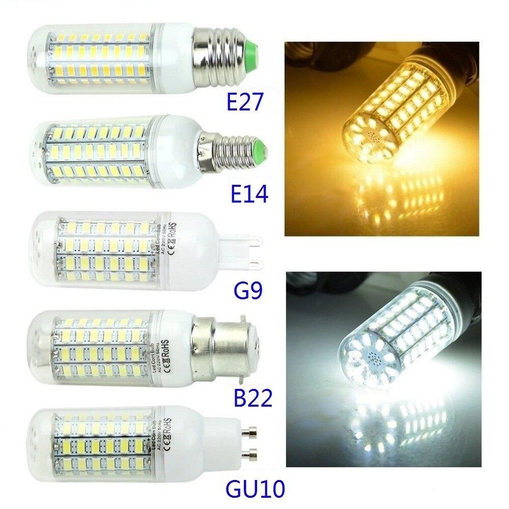 Bombilla de bombilla LED tipo mazorca E27 B22 GU10 E14 G9 7W a 30W, blanco frío/AC110V cálido/220V, lámpara de alto brillo, luces de ahorro de energía D30 Luces LED de pared para fiesta o Dj, 24 LEDs de Disco UV, Color Wash, luces LED de pared para Navidad, proyector láser, luces de pared