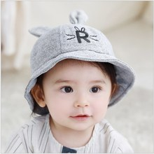 Cute Baby Girl Boy Autumn Winter Home Outdoor Hats Cotton Soft Warm Kid Hat Big R Letter Unisex