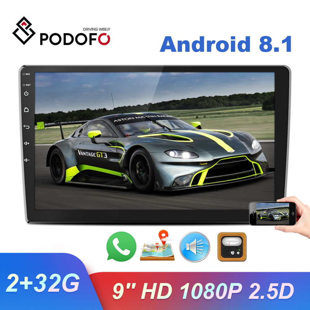 "Podofo 2 Din Android 8.1 Car Multimedia Video Player 9"" 2Din HD 1080P Stereo Radio GPS WiFi Bluetooth Autoradio For Unversial"